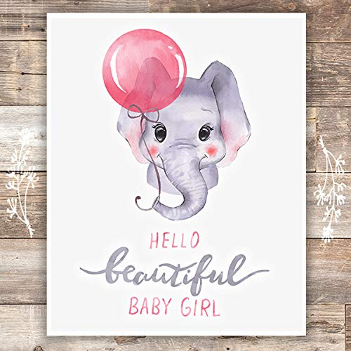 Girls Nursery Decor Art Print - Unframed - 8x10 | Elephant Baby Girl - Dream Big Printables
