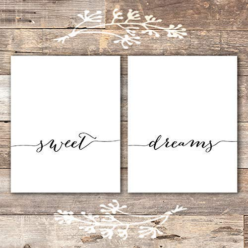 Sweet Dreams Wall Art Prints (Set of 2) - Unframed - 8x10 | Calligraphy - Dream Big Printables