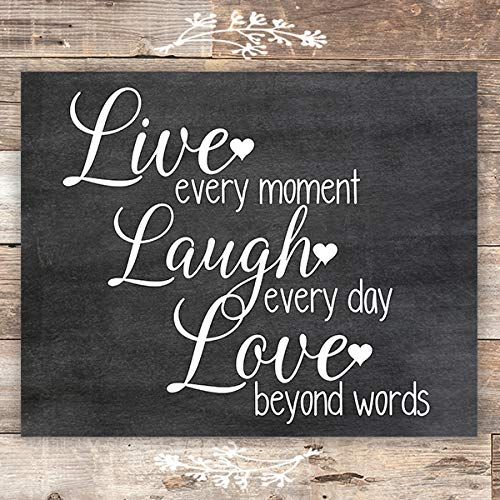 Live Laugh Love Chalkboard Quote Art Print - Unframed - 8x10 - Dream Big Printables