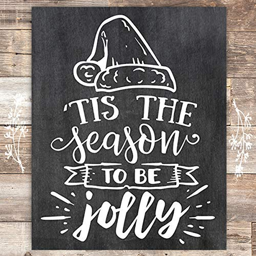 Tis The Season To Be Jolly Chalkboard Christmas Art Print - Unframed - 8x10 - Dream Big Printables
