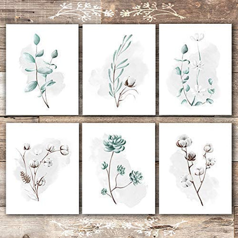 Eucalyptus and Cotton Botanical Prints Wall Art (Set of 6) - Unframed - 8x10s - Dream Big Printables