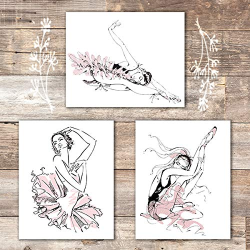 Ballerina Sketches Art Prints (Set of 3) - Unframed - 8x10s - Dream Big Printables
