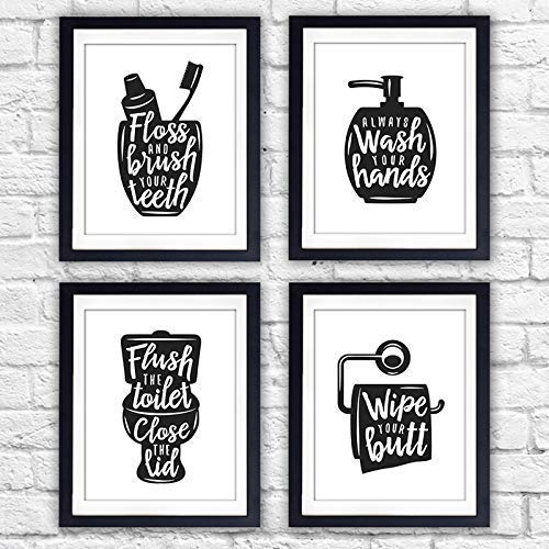 Funny Bathroom Signs (Set of 4) - Unframed - 8x10s | Bathroom Decor Wall Art - Dream Big Printables