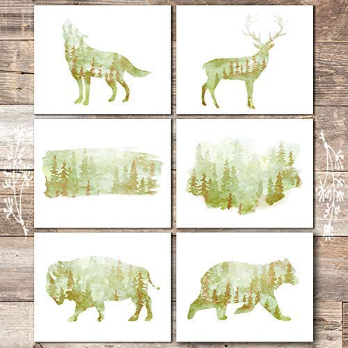 Forest Landscape Animal Silhouette Art Prints (Set of 6) - Unframed - 8x10s - Dream Big Printables