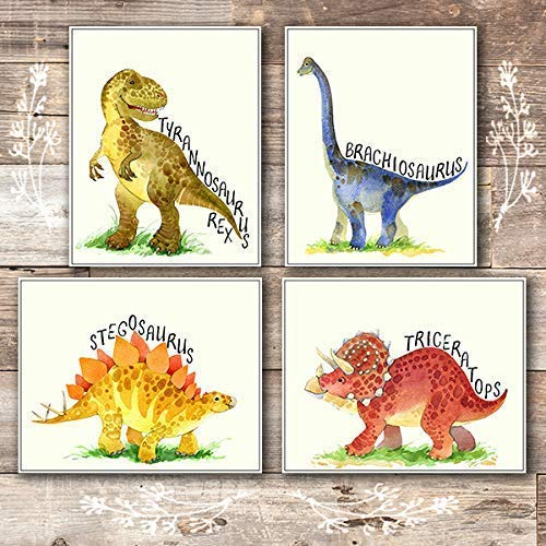 Dinosaur Bedroom Decor Wall Art Prints (Set of 4) - Unframed - 8x10s - Dream Big Printables