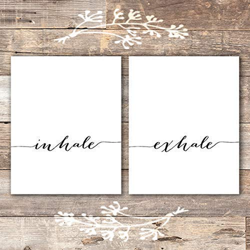 Inhale Exhale Wall Art Prints - (Set of 2) - Unframed - 8x10 | Inspirational Wall Art - Dream Big Printables