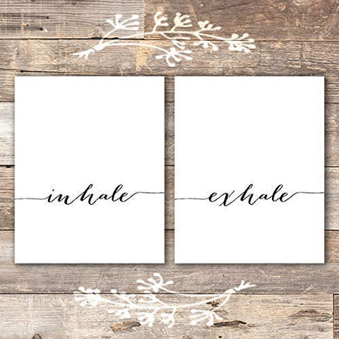 Inhale Exhale Wall Art Prints - (Set of 2) - Unframed - 8x10 | Inspirational Wall Art