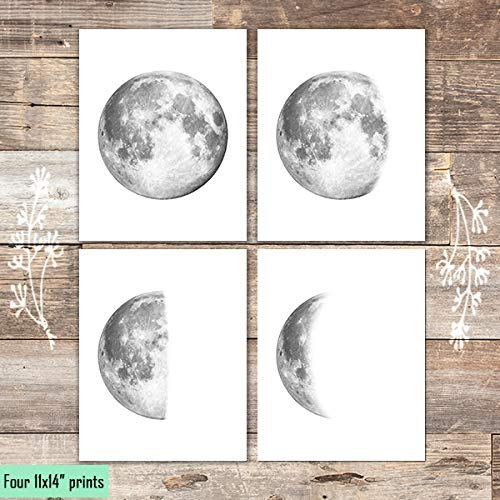 Moon Phases Art Prints (Set of 4) - Unframed - 11x14s - Dream Big Printables