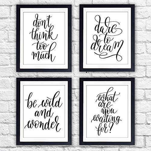 Inspirational Quotes Wall Art Prints (Set of 4) - Unframed - 8x10s | Typography Wall Art - Dream Big Printables