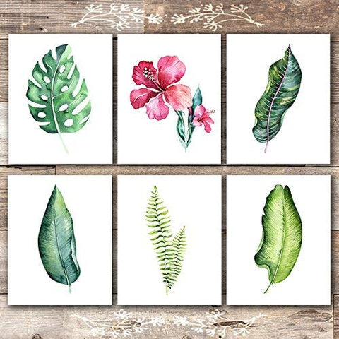 Botanical Prints Wall Art - Tropical Leaves Wall Decor Art Prints - (Set of 6) - Unframed - 8x10s - Dream Big Printables