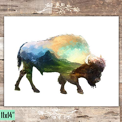 Double Exposure -Watercolor Bison - Unframed - 11x14 - Dream Big Printables