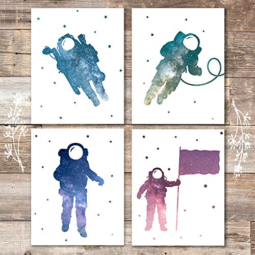 Astronauts Among Stars Art Prints (Set of 4) - Unframed - 8x10s - Dream Big Printables