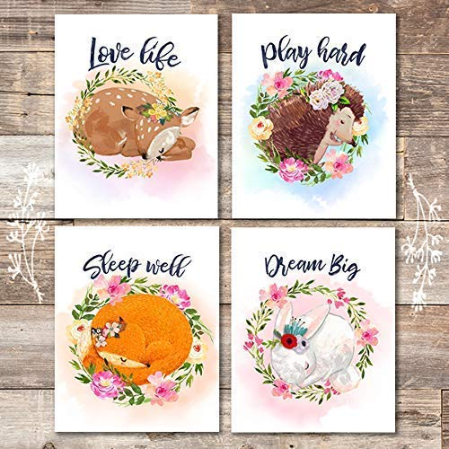 Woodland Animals Nursery Wreath Wall Art Prints (Set of 4) - Unframed - 8x10s - Dream Big Printables