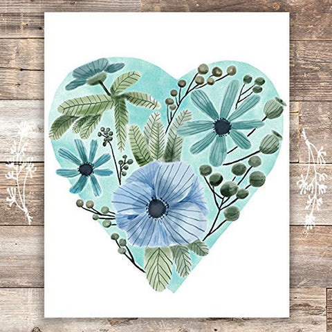 Blue Floral Heart Wall Art - Unframed - 8x10 | Botanical Decor