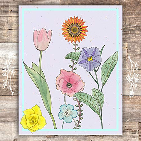 Floral Arrangement Botanical Print - Unframed - 8x10s