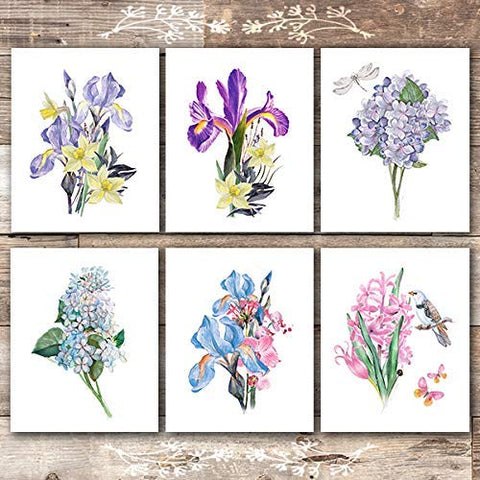 Botanical Prints Wall Art (Set of 6) - Unframed - 8x10s | Flower Bouquets - Dream Big Printables