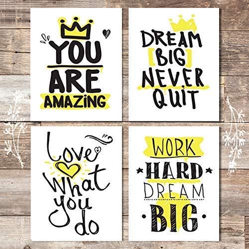 Inspirational Art Prints (Set of 4) - Unframed - 8x10s - Dream Big Printables