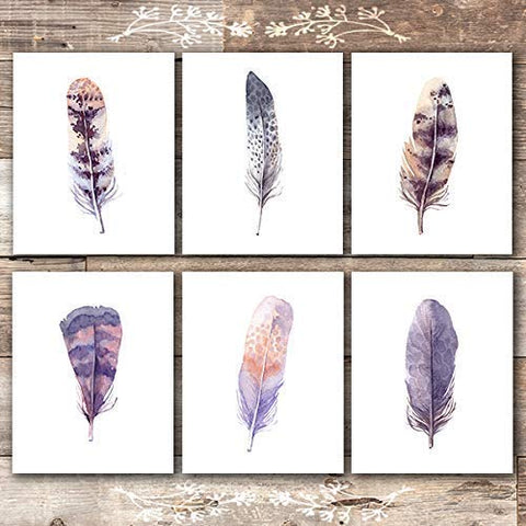 Feather Wall Art Prints (Set of 6) - Unframed - 8x10s | Rustic Home Decor