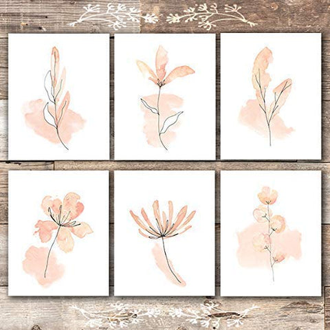 Floral Watercolor Sketches Art Prints (Set of 6) - Unframed - 8x10s | Botanical Wall Decor - Dream Big Printables