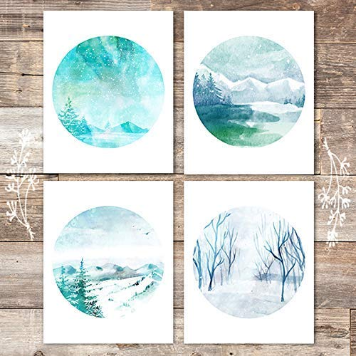Watercolor Winter Landscapes Art Prints (Set of 4) - Unframed - 8x10s - Dream Big Printables