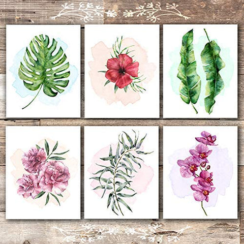 Tropical Leaves Wall Decor Art Prints - Botanical Prints Wall Art (Set of 6) - Unframed - 8x10s