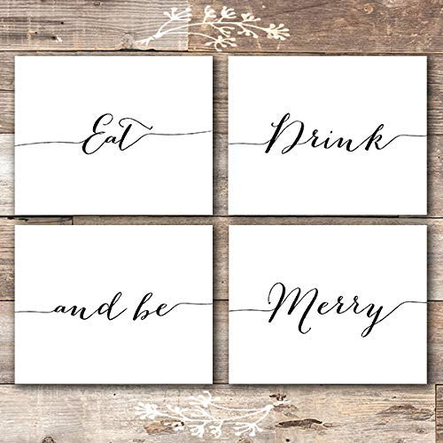 Eat Drink and Be Merry Wall Decor Art Prints (Set of 4) - Unframed - 8x10s - Dream Big Printables