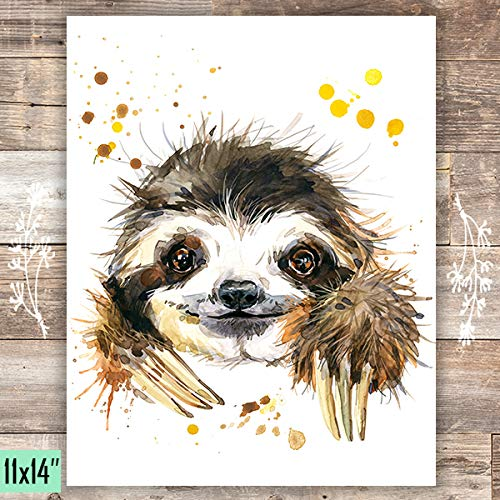 Sloth Art Print - Unframed - 11x14 - Dream Big Printables