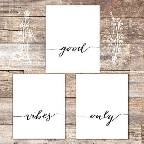 Good Vibes Only Calligraphy Wall Art (Set of 3) - Unframed - 8x10s | Inspirational Decor