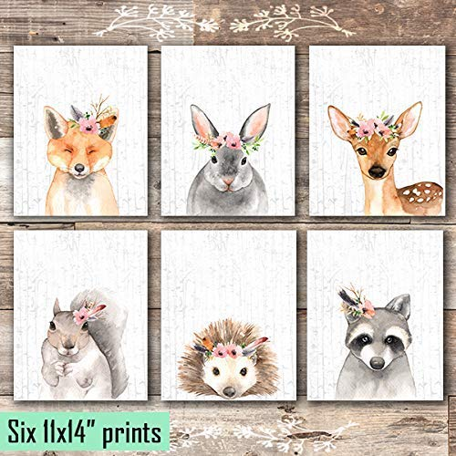 Woodland Animals Nursery Wall Art Prints (Set of 6) - Unframed - 11x14s - Dream Big Printables