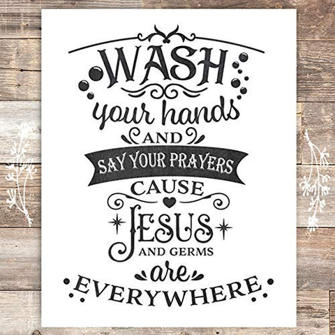 Wash Your Hands and Say Your Prayers Art Print - Unframed - 8x10 - Dream Big Printables