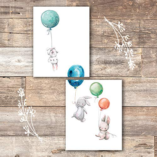 Bunny Wall Art Prints (Set of 2) - Unframed - 8x10 | Nursery Decor - Dream Big Printables