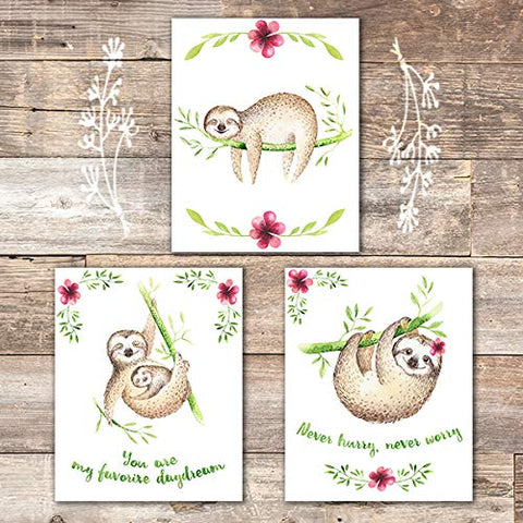 Sloth Wall Decor (Set of 3) - Unframed - 8x10s - Dream Big Printables