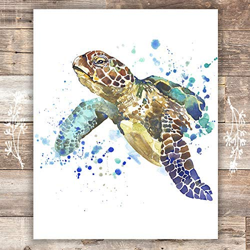 Sea Turtle Wall Art Print - Unframed - 8x10 | Beach Wall Decor - Dream Big Printables