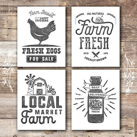 Farmhouse Decor - Kitchen Art Prints (Set of 4) - Unframed - 8x10s - Dream Big Printables