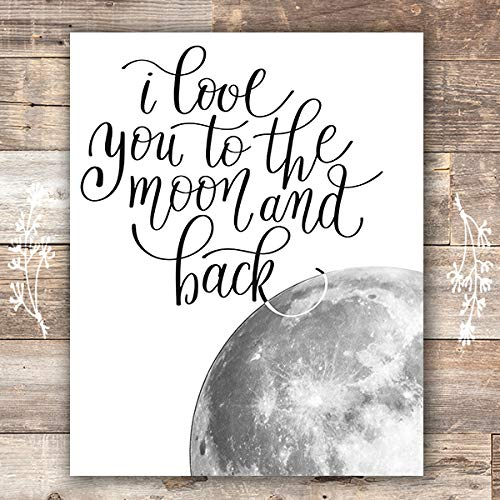 I Love You to the Moon and Back Wall Art Print - Unframed - 8x10 | Nursery Decor - Dream Big Printables