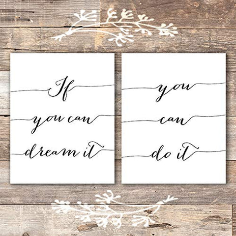 If You Can Dream It, You Can Do It Art Prints (Set of 2) - Unframed - 8x10 - Dream Big Printables