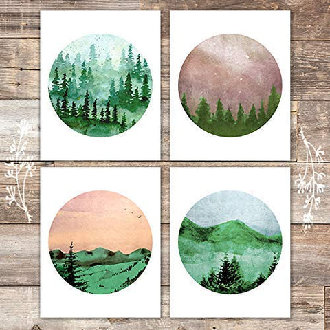 Watercolor Forest Landscapes Art Prints (Set of 4) - Unframed - 8x10s - Dream Big Printables
