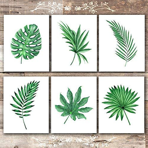 Tropical Leaves Wall Decor Art Prints - Botanical Prints Wall Art - (Set of 6) - Unframed - 8x10s