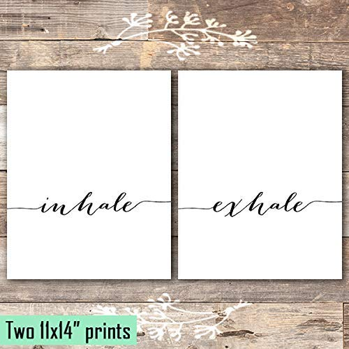 Inhale Exhale Wall Art Prints (Set of 2) - Unframed - 11x14 | Inspirational Wall Art - Dream Big Printables