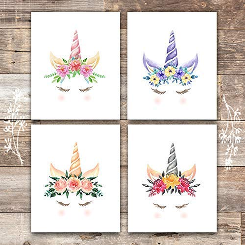 Unicorn Wall Art Prints (Set of 4) - Unframed - 8x10s | Girls Room Decor - Dream Big Printables