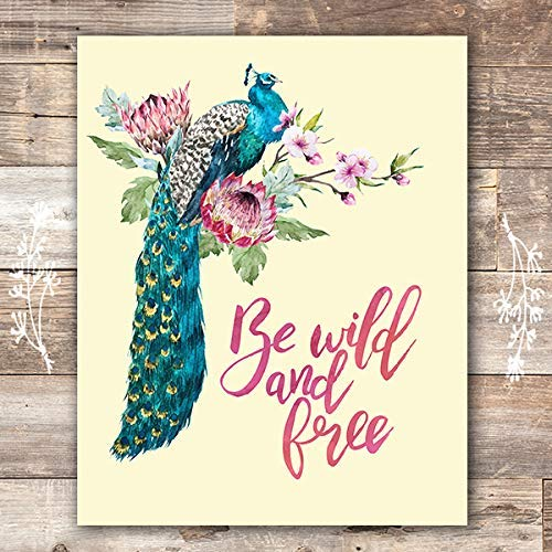 Peacock Wall Art Print - Unframed - 8x10 | Peacock Wall Decor - Dream Big Printables