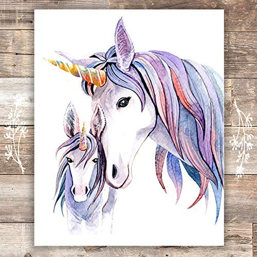 Unicorn Mother and Daughter Wall Decor For Girls Room - Art Print - Unframed - 8x10 - Dream Big Printables