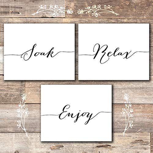 Soak Relax Enjoy Art Print (Set of 3) - Unframed - 8x10s | Bathroom Wall Art - Dream Big Printables