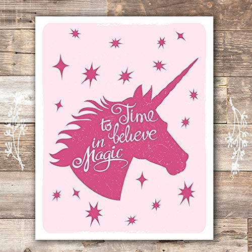 Unicorn Wall Art Print - Unframed - 8x10 | Girls Room Decor - Dream Big Printables