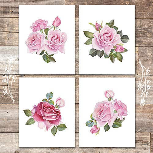 Roses Art Prints (Set of 4) - Unframed - 8x10s | Botanical Prints Wall Art - Dream Big Printables