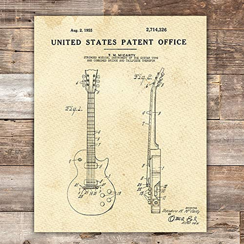 Guitar Patent Print Wall Art - Unframed - 8x10 - Dream Big Printables