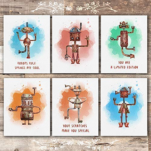 Robot Art Prints (Set of 6) - Unframed - 8x10s - Dream Big Printables