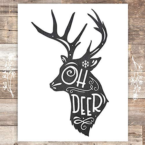 Oh Deer Christmas Art Print - Unframed - 8x10 - Dream Big Printables