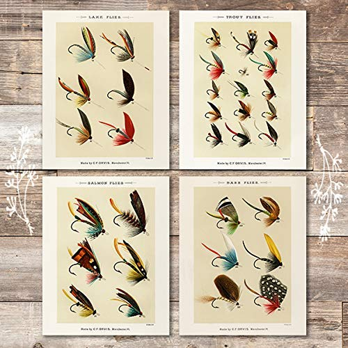 Vintage Fly Fishing Art Prints (Set of 4) - Unframed - 8x10 | Great Gift for Fishermen - Dream Big Printables