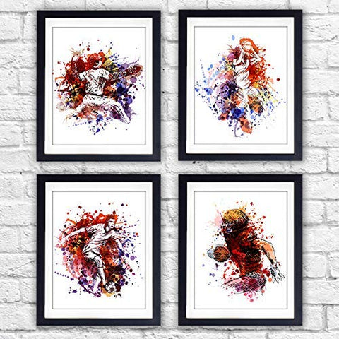 Boys Sports Room Decor Art Prints (Set of 4) - Unframed - 8x10s | Baseball, Basketball, Football, Soccer